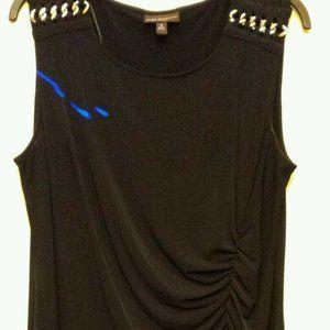DANA BUCHMAN Black Sheath Dress w/ Side Ruching 1X